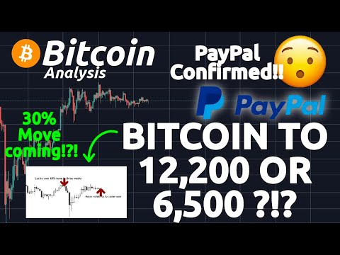 BITCOIN TO 12,200 OR 6,500 ?!? HISTORIC VOLATILITY SHOWS 30% MOVE COMING!?! PAYPAL CONFIRMED!!!
