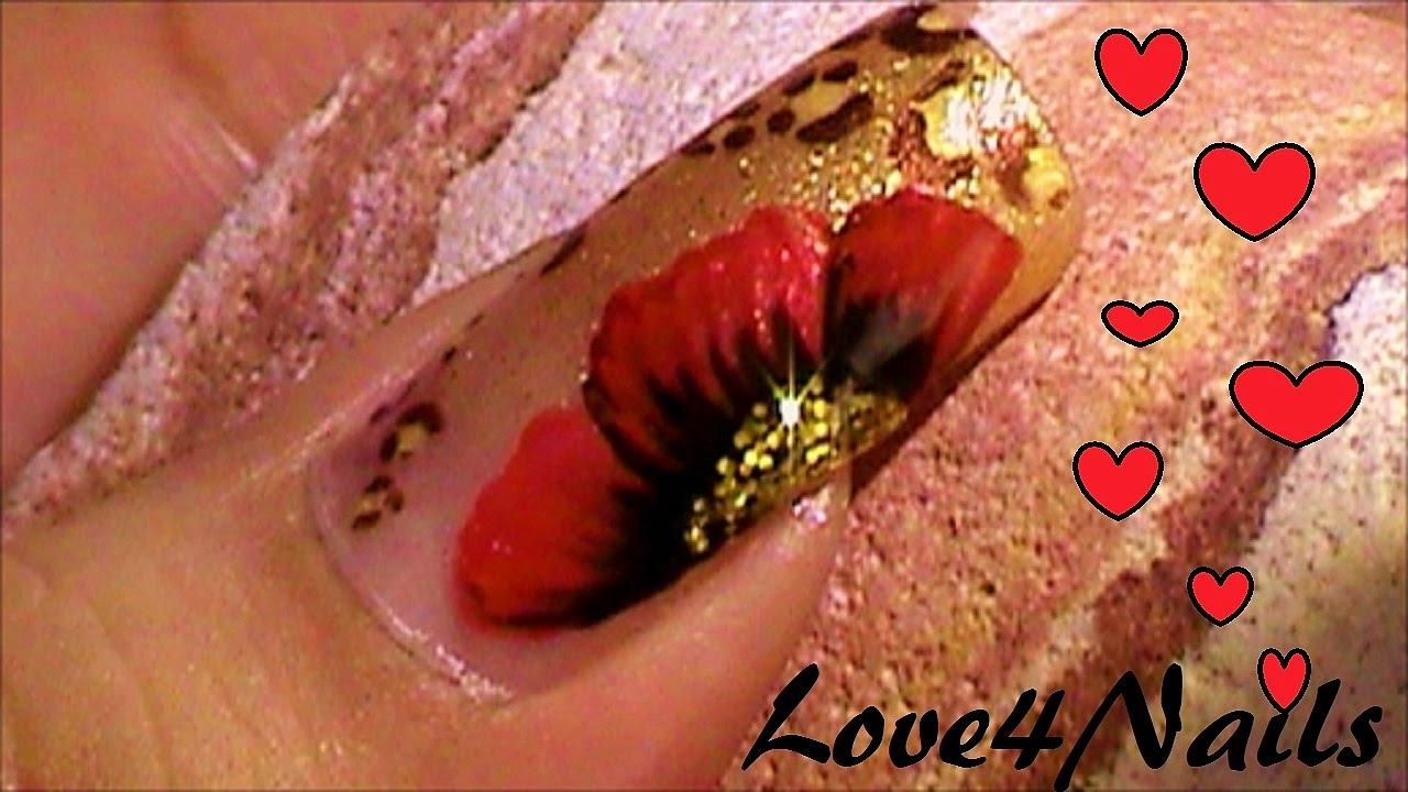 Uñas Oro Leopardo Con Una Flor A Mano Alzada Tutorial - YouTube