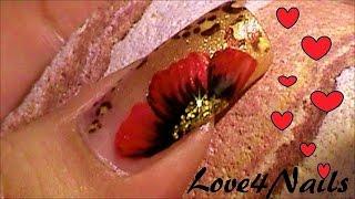 Uñas Oro Leopardo Con Una Flor A Mano Alzada Tutorial thumbnail
