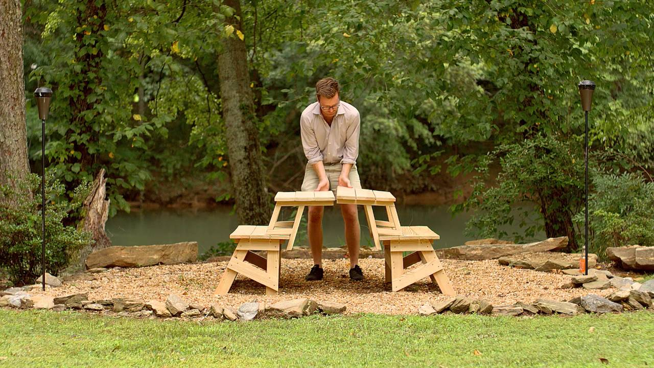 YellaWood Convertible Picnic Table - Hack Video - YouTube