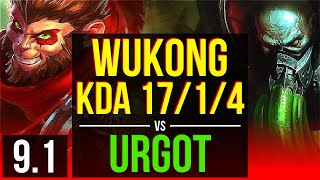 wukong vs urgot top kda 1714 8 solo kills legendary euw diamond v91
