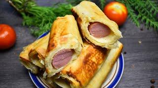 Сосиска с сыром и картошкой в лаваше отличное блюдо для перекуса