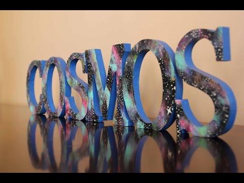 DIY Galaxy pattern on wooden letters ~ Estampado de galaxia