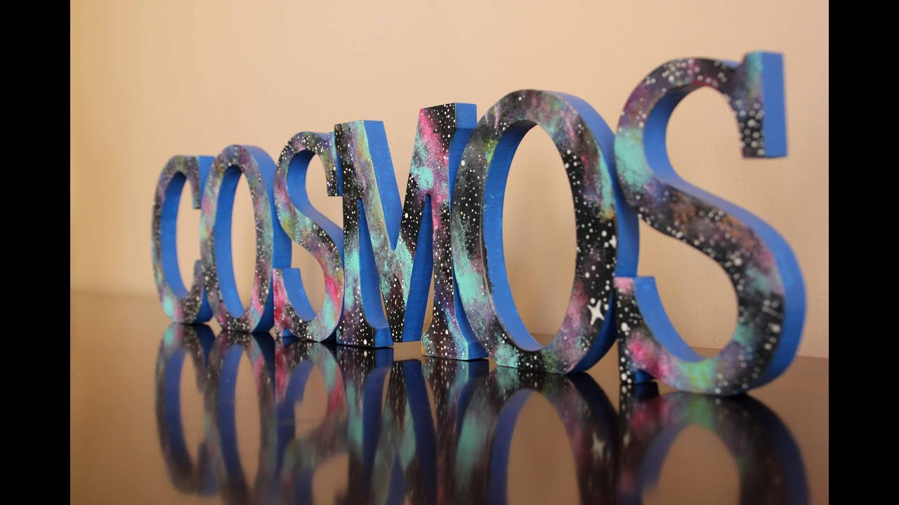 cosmos tribute diy galaxy pattern on wooden letters estampado de galaxia youtube