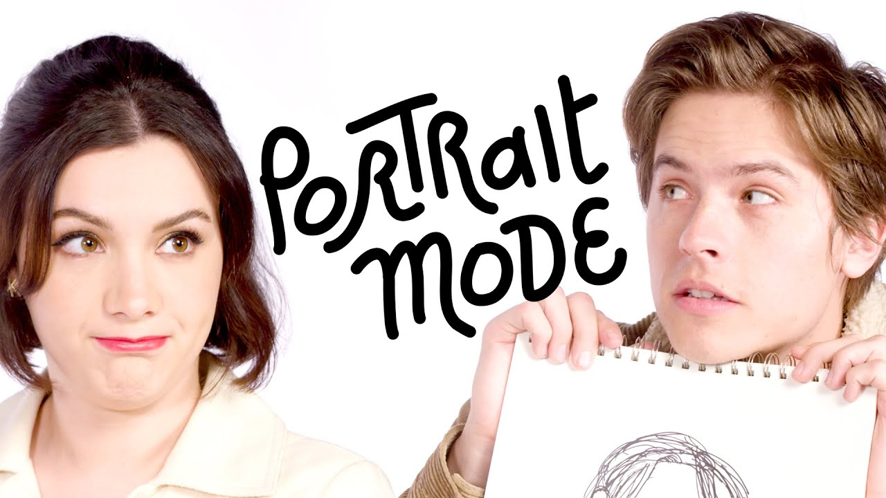 Dylan Sprouse & Hannah Marks Draw Each Other's Portraits | Portrait Mode | Harper's BAZAAR
