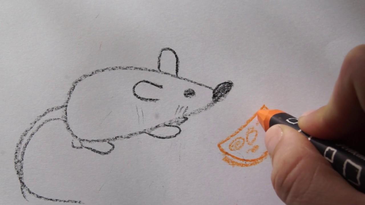 katze mit fisch malen, 🍉🐀 maus malen mit käse - tiere zeichnen - how to draw a mouse for, Design ideen
