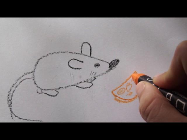 ???????? Maus malen mit Käse - Tiere zeichnen - how to draw a Mouse for children - ?????? ?????