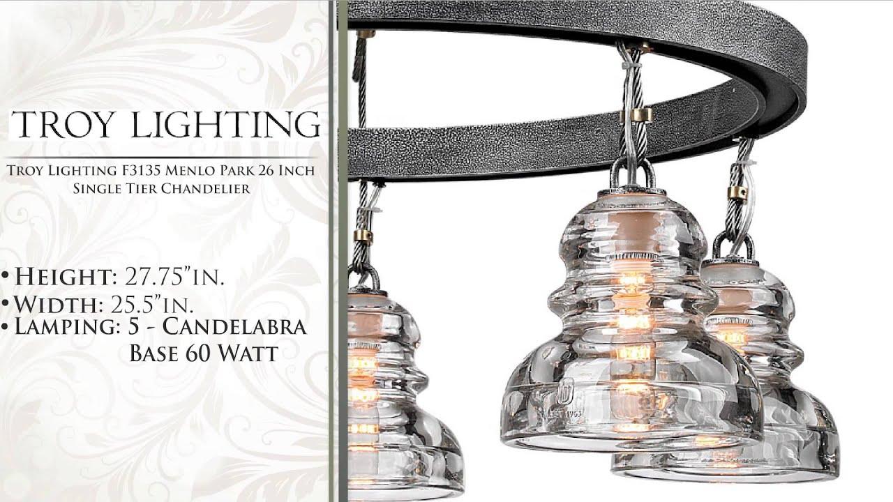 Troy lighting f3135 menlo park 26 inch single tier chandelier youtube arubaitofo Images