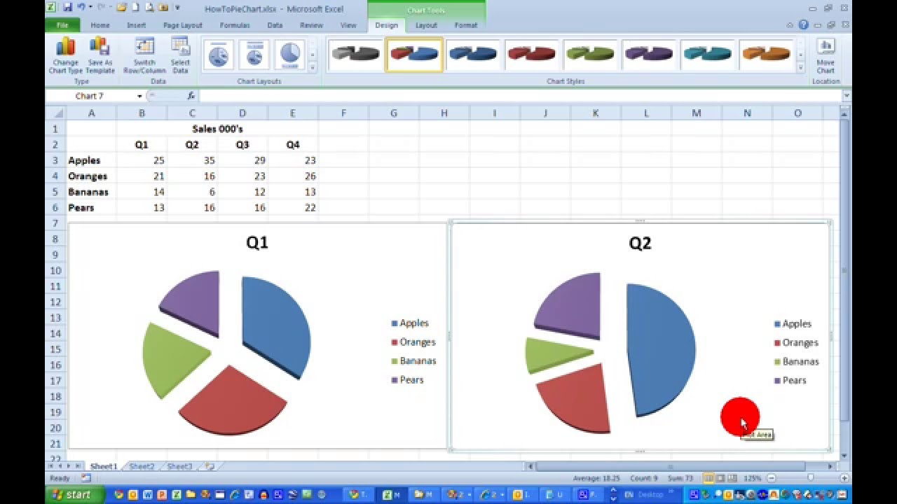 How Todraw A Simple Pie Chart In Excel 2010 Youtube
