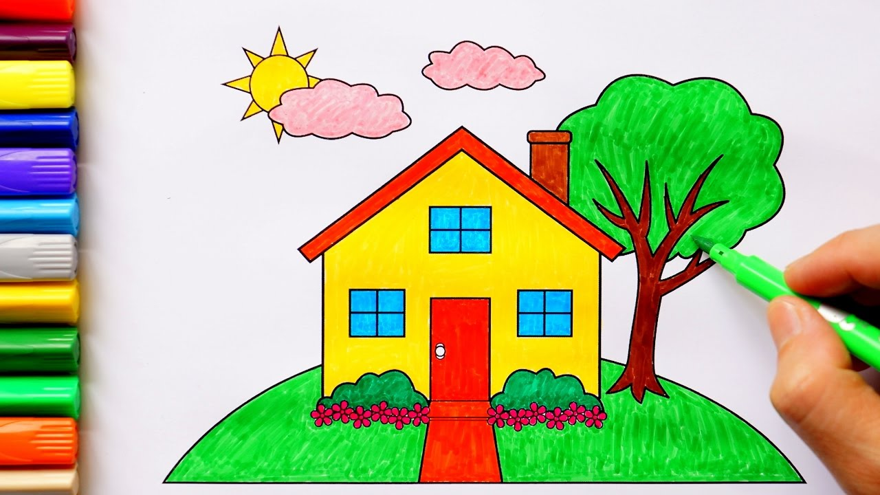 House coloring pages coloring house in a garden with sun and cloud in the sky