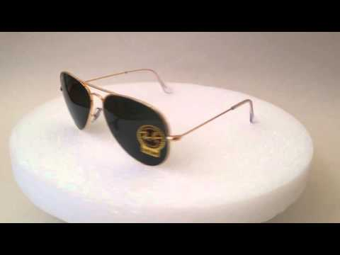 ray ban aviator rb3025 l0205  Ray-Ban Aviator Pilot Sunglasses gold metal frame green lens ...