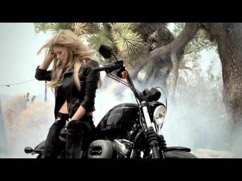 Supermodel Marissa Miller does a burnout on a HarleyDavidson