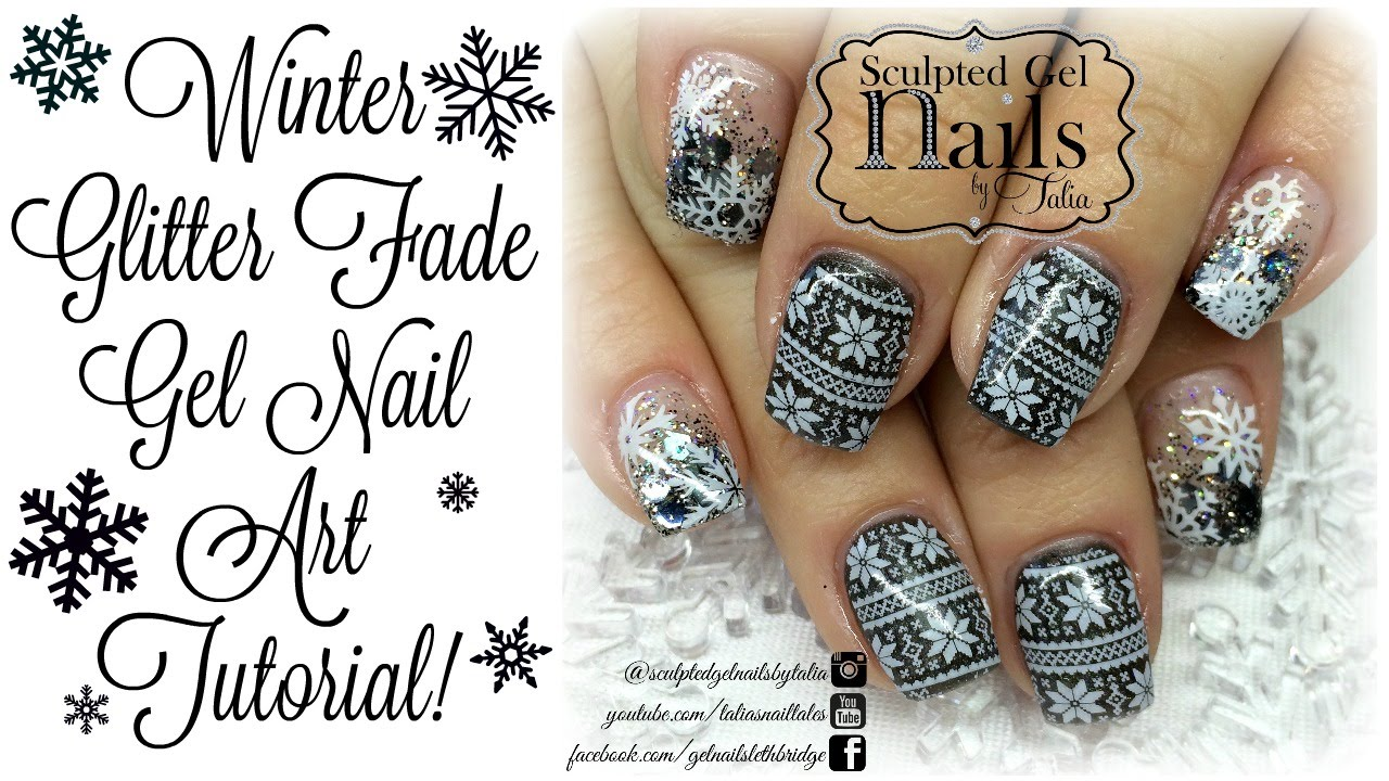 Winter Glitter Fade Gel Nail Art Tutorial Youtube