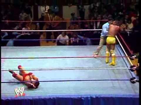 Macho Man Randy Savage vs Tito Santana with Jesse Ventura doing comentary