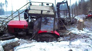 Belarus Mtz 892 forestry tractor  stuck in mud, saving with Mtz 1025