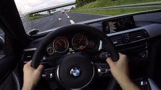 BMW 435i POV Onboard Acceleration on No Speed Limit Autobahn F33 Sound Kickdown Driver View
