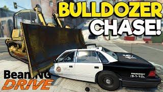 Insane Bulldozer Crashes & Police Chase! - BeamNG Gameplay & Crashes - Cop Escape