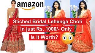 *NEW* Amazon Stitched Bridal lehenga Unboxing & Review | Bridal lehenga Rs 1000 | Nikkis Passion