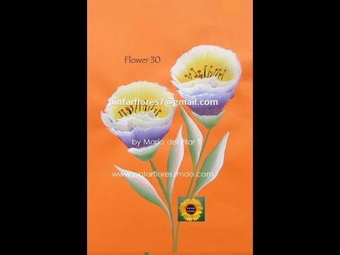 Pintar flores. Flowers one stroke. Peinture de fleurs.Blumen malen. 30