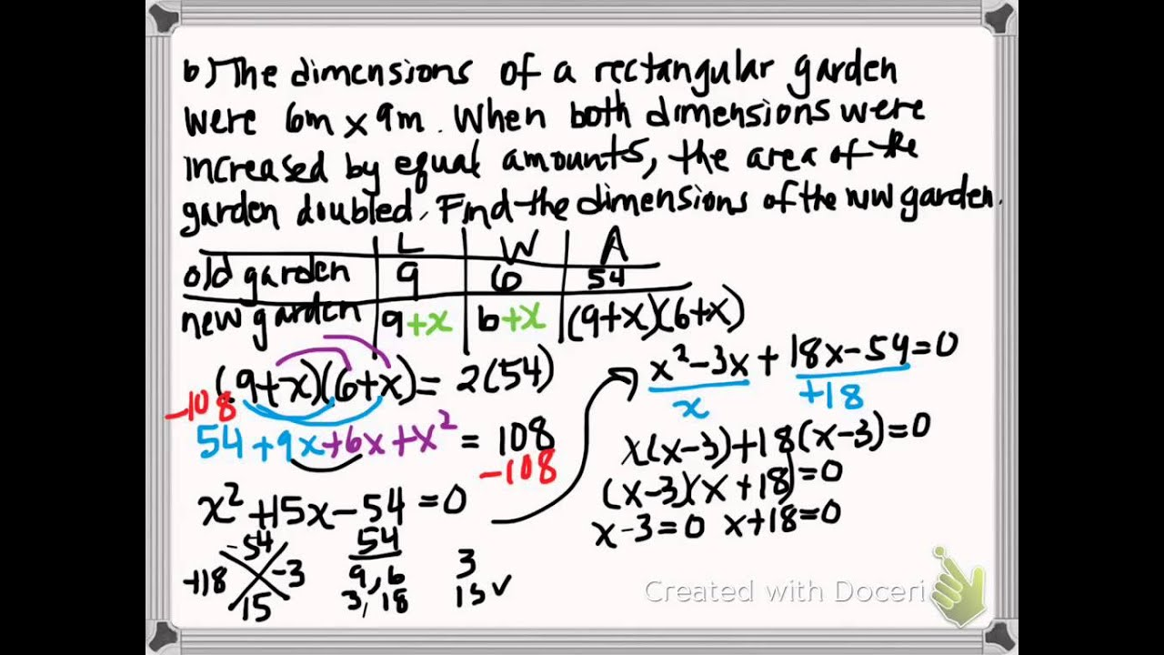 Algebra Solving Word Problems by Factoring Notes #42 Part