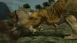 3DCGによるティラノサウルスとトリケラトプスの狩りの様子