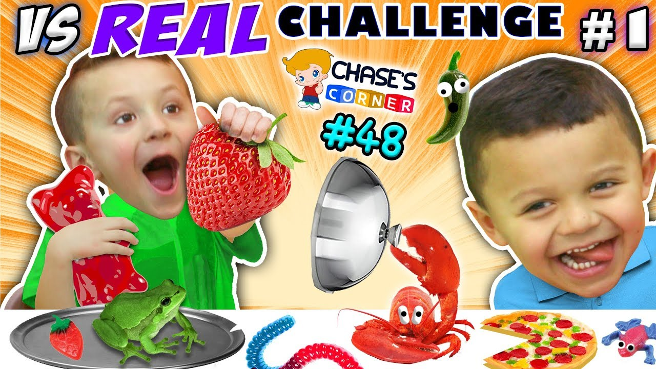 GUMMY vs. REAL FOOD CHALLENGE! LIVE Animals FUN (Chase's Corner #48 DOH MUCH FUN) #1