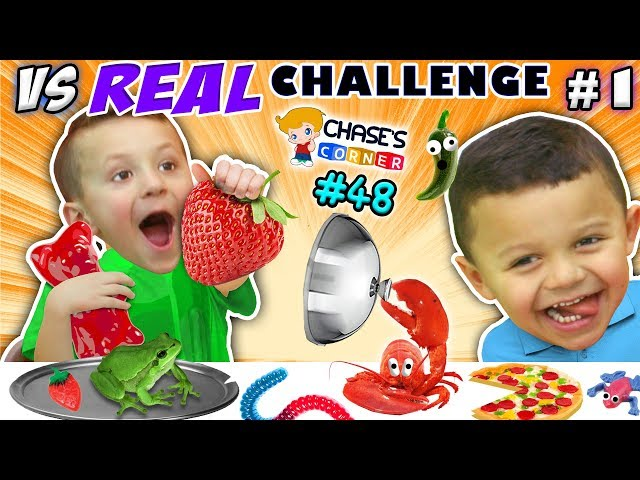 GUMMY vs. REAL FOOD CHALLENGE! LIVE Animals SCARES, PRANKS & FUN (Chase's Corner #48 DOH MUCH FUN)