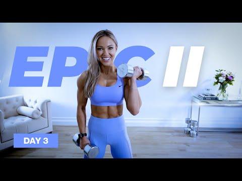 45 Min Upper Body Workout / Dumbbells & Bodyweight   EPIC II - DAY 3