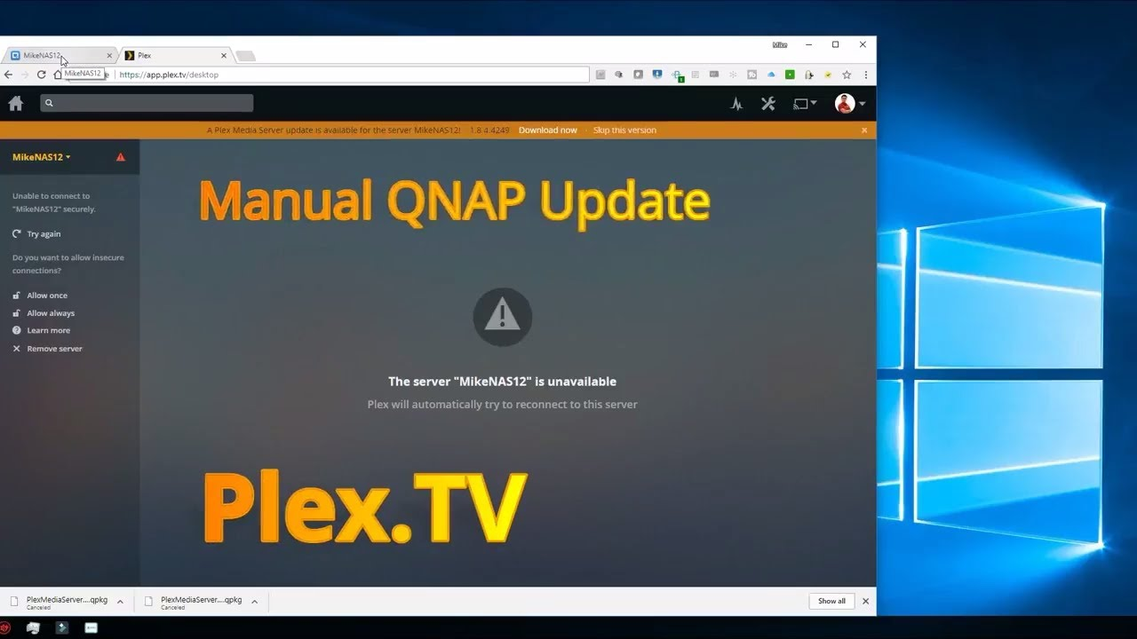How to Install Manual Update for Plex TV on QNAP QNAS File Server