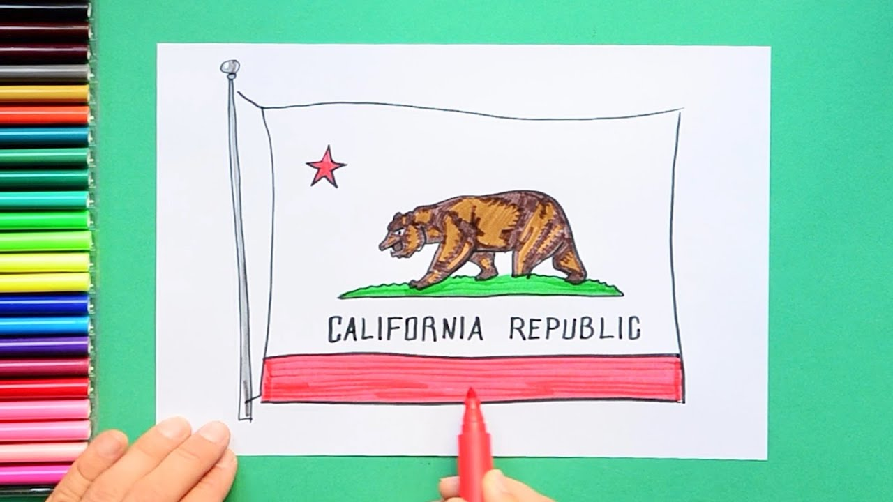 How To Draw And Color The Flag Of California