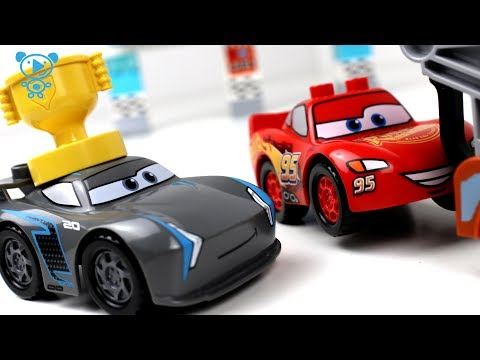 Thumbnail: Cars 3 toys cartoon animation stop motion - Cars 3 McQueen vs Jackson Storm Race 1 Lego Duplo Cars 3