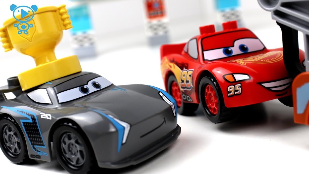 Cars 3 Toys Cartoon Animation Stop Motion Mcqueen Vs Jackson Storm Race 1 Lego Duplo