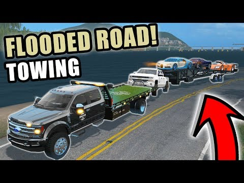 TOWING CARS OUT OF FLOODED ROAD | SQUAD TOWING SERVICE | FARMING SIMULATOR 2017