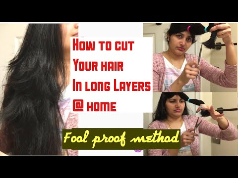 Layered HairCut 💇🏻‍♀️ For Long Hair @Home || DIY Layered Haircut With Subtitles|| Shruthi Diaries