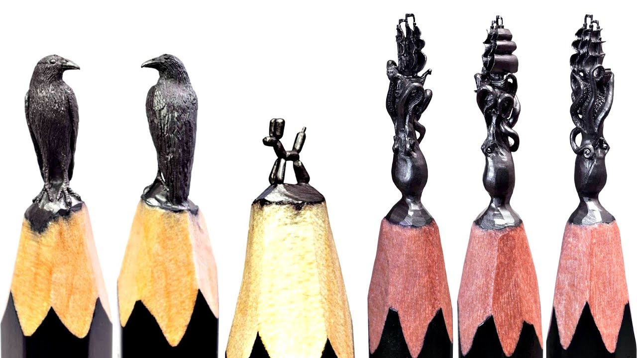 AMAZING Art on Pencil , Pencil Carving, Carving Balloon Dog On A Pencils Tip!