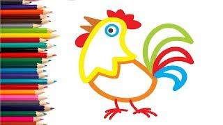 Раскраска Петушок. Учимся рисовать петуха. Как нарисовать петуха. Учим цвета