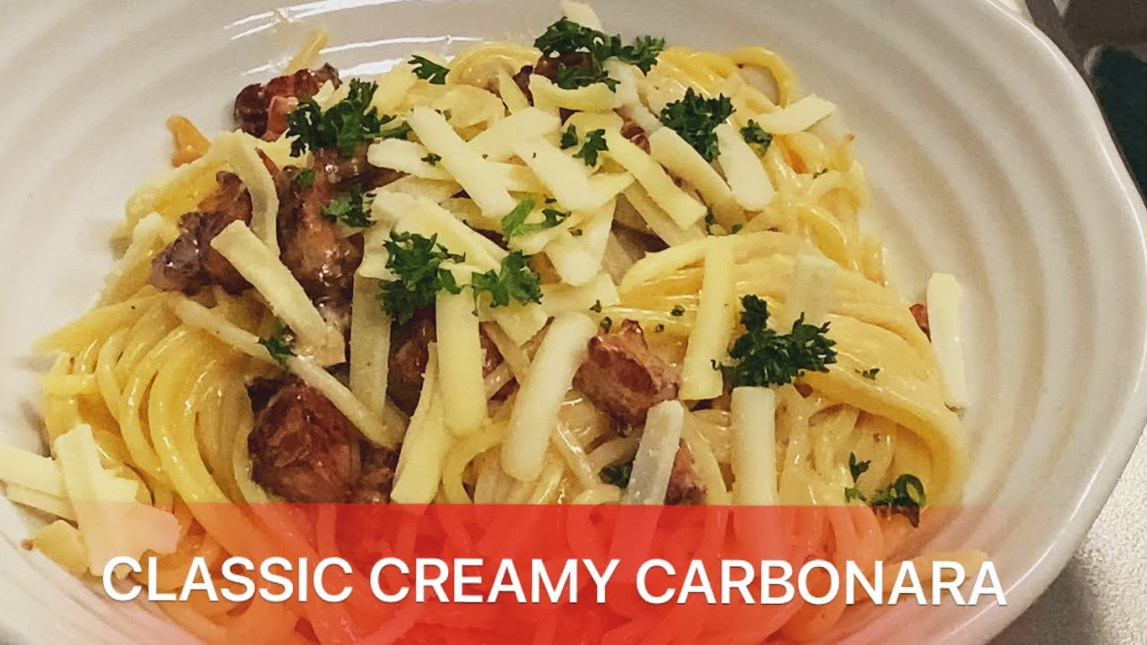 Mì Ý Carbonara thịt heo xông khói sốt kem chuẩn vị Ý- Best Spaghetti Carbonara easy to make at home