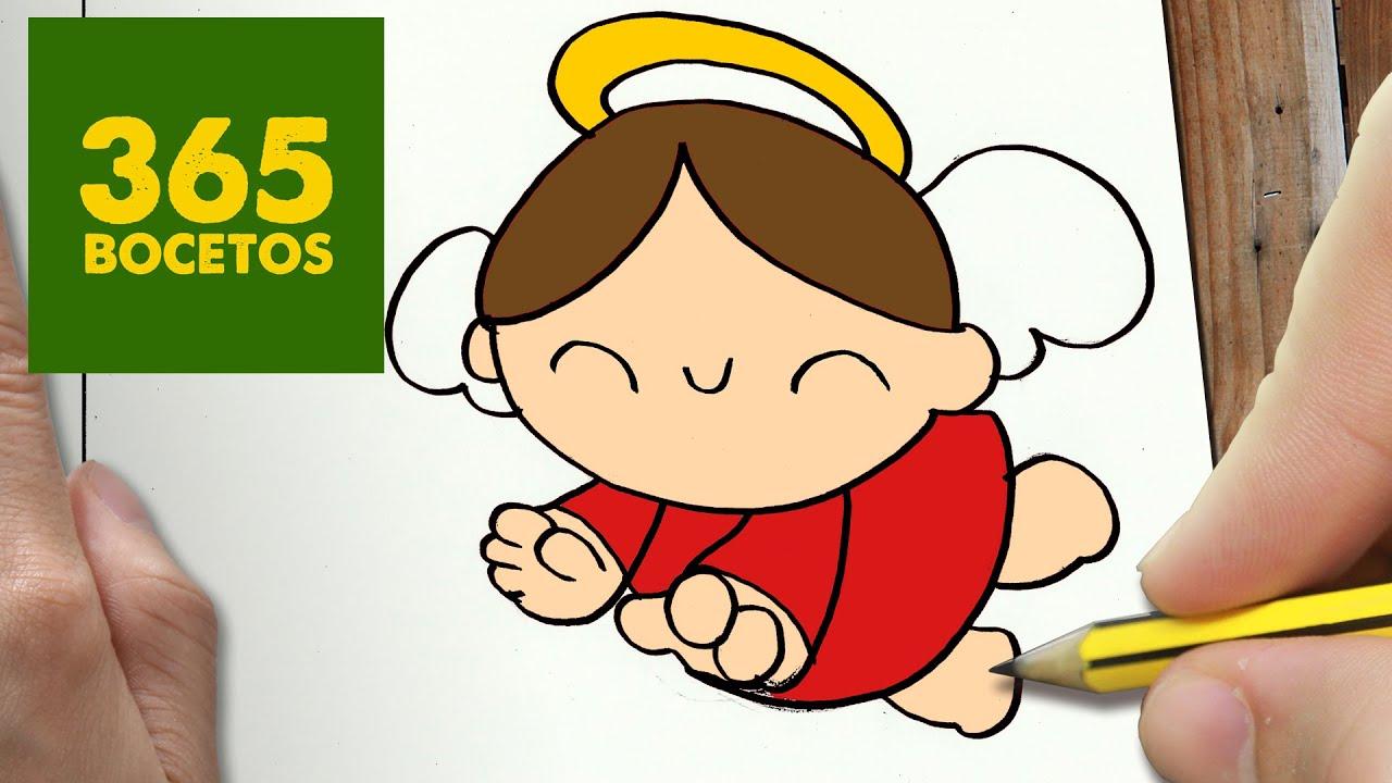 COMO DIBUJAR UN ANGEL PARA NAVIDAD PASO A PASO: Dibujos kawaii ...