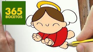 COMO DIBUJAR UN ANGEL PARA NAVIDAD PASO A PASO: Dibujos kawaii navideños - How to draw a Angel
