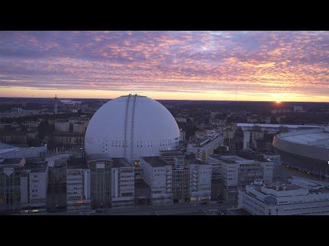 2572. Globen (Stockholm Globe Arena) Drone Stock Footage Video