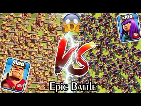 100 KING Vs 100 QUEEN Clash Of Clans | Barbarian KING Vs Archer Queen | Max KING Vs Max QUEEN