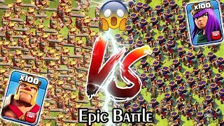 100 KING vs 100 QUEEN Clash of Clans | Barbarian KING vs Archer Queen | Max KING vs Max QUEEN