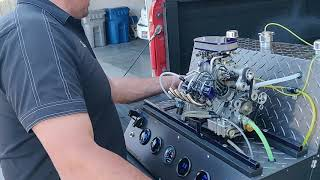 "Conley Engineering ""Stinger 609"" 6.09 ci 1/4 scale V8 motor running on test stand"