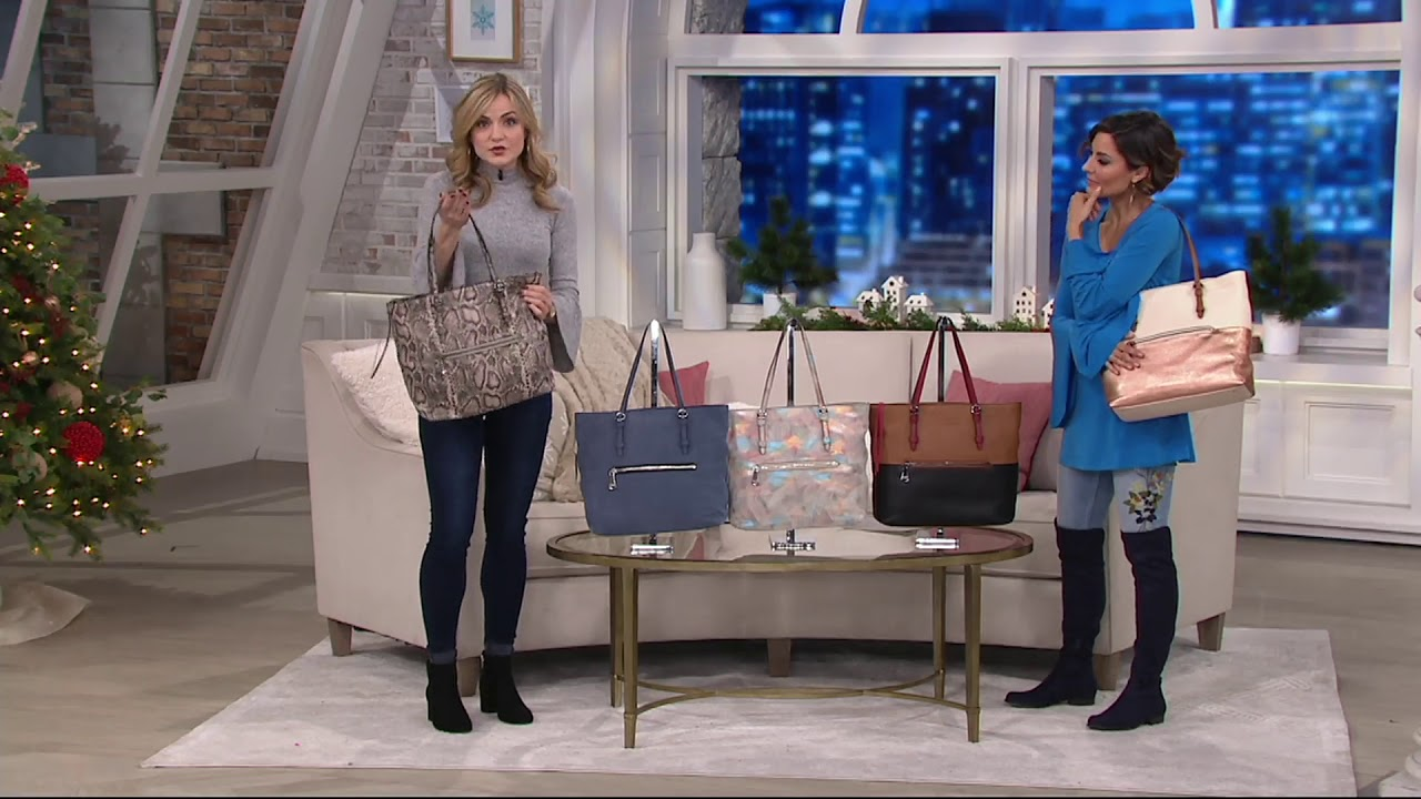 a3c5c963d750 Aimee Kestenberg Leather On-the-Go Tote Handbag on QVC - YouTube