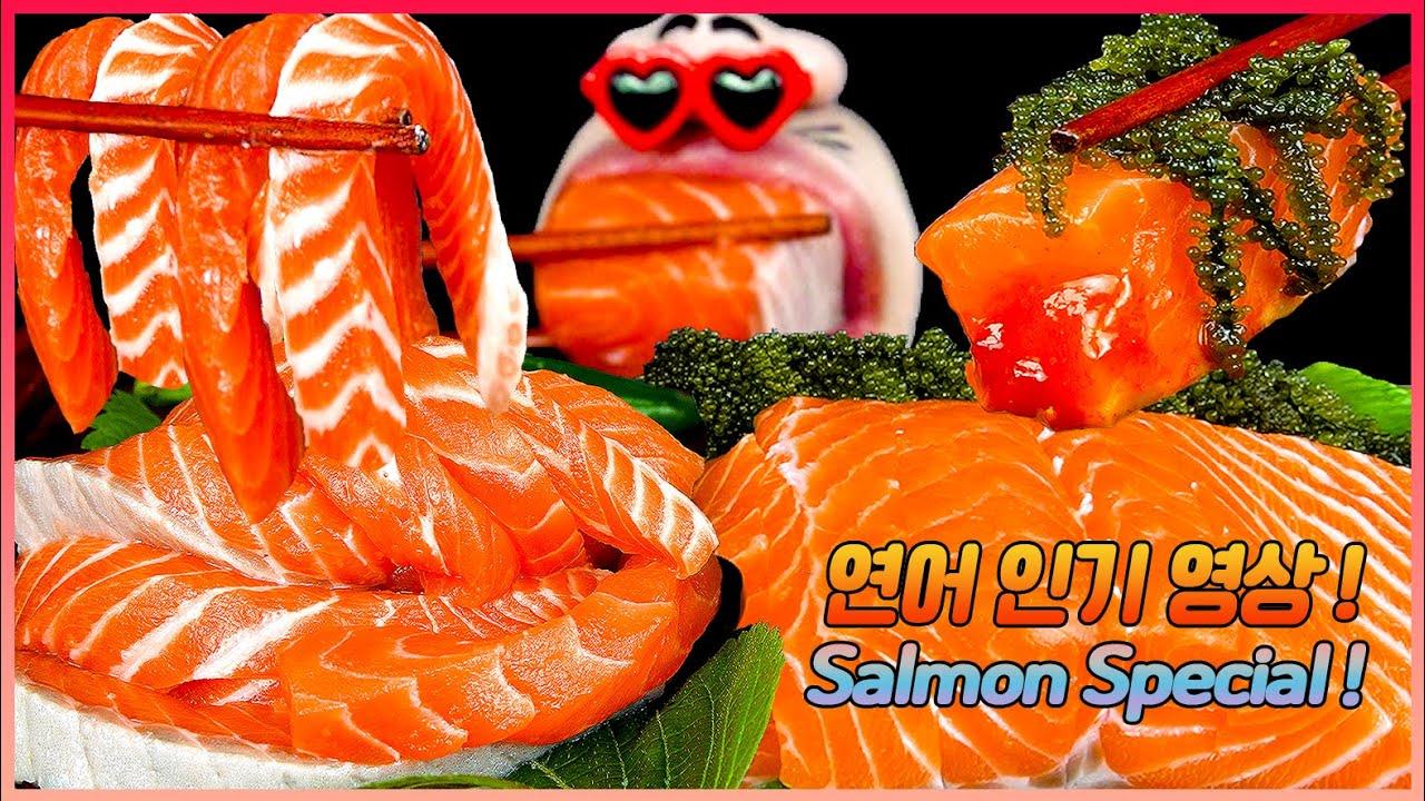 ASMR MUKBANG :) Popular Salmon Collection Eating Show!