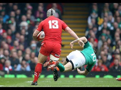 Excellent Jonathan Davies handoff, Wales v Ireland, 14th March 2015