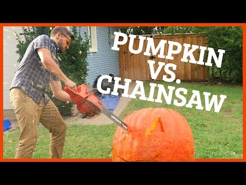 CARVING MASSIVE PUMPKIN WITH CHAINSAW!!