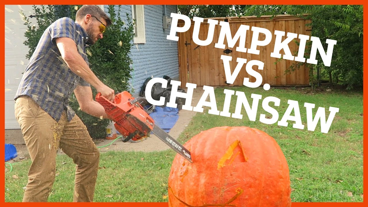 Carving massive pumpkin with chainsaw doovi