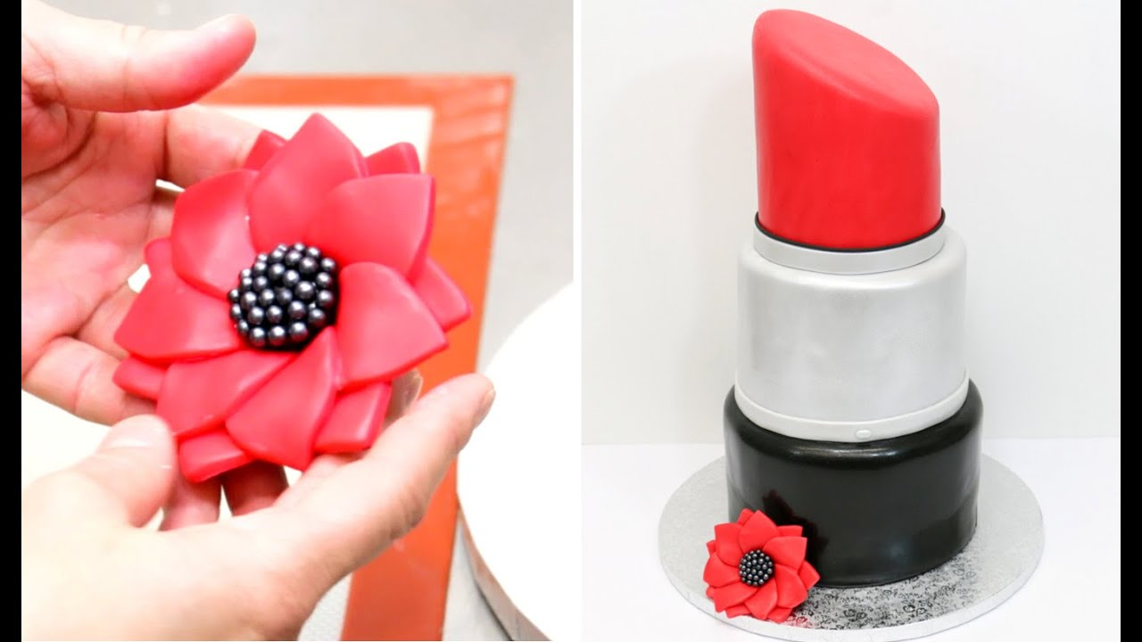 MakeUp Lipstick Cake How To Make By CakesStepbyStep