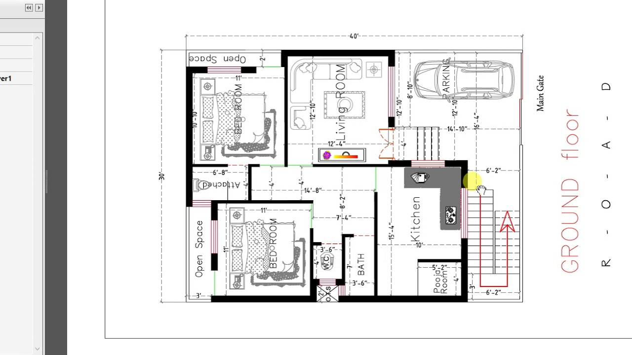 30x40 Ft 2 Bed Room House Plan With Car Parking Youtube